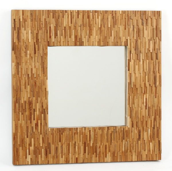Brutalist inspired mirror w/ layered wood tiles
