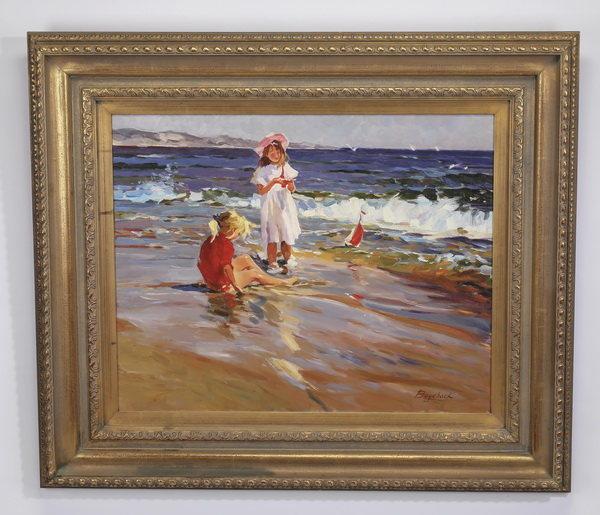 20th c. O/c of two girls playing along the seashore