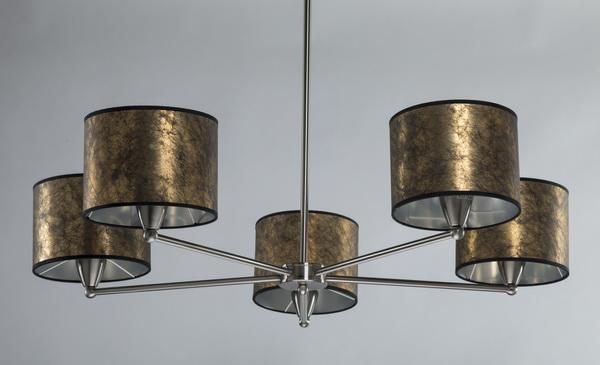Contemporary starburst chandelier w/ gold foil shades