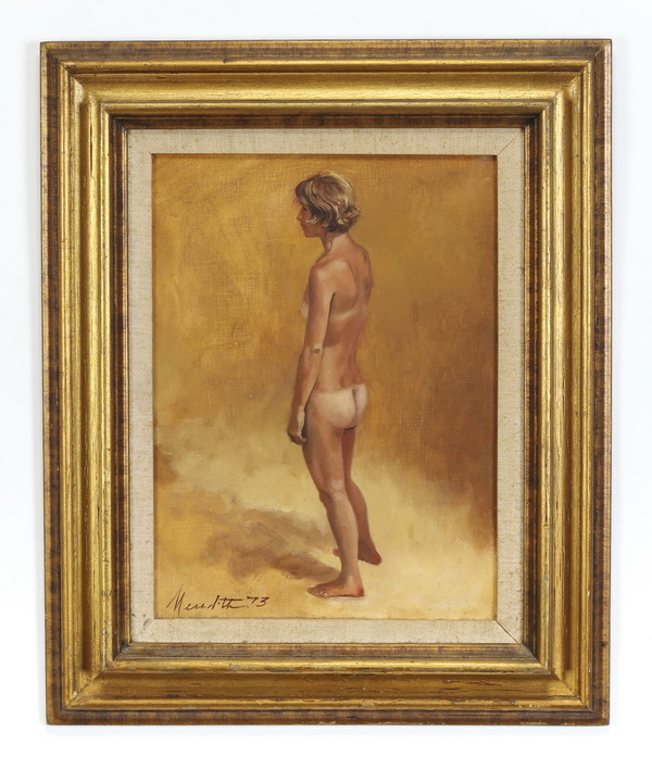 American O/c of standing nude w/ tan lines, signed