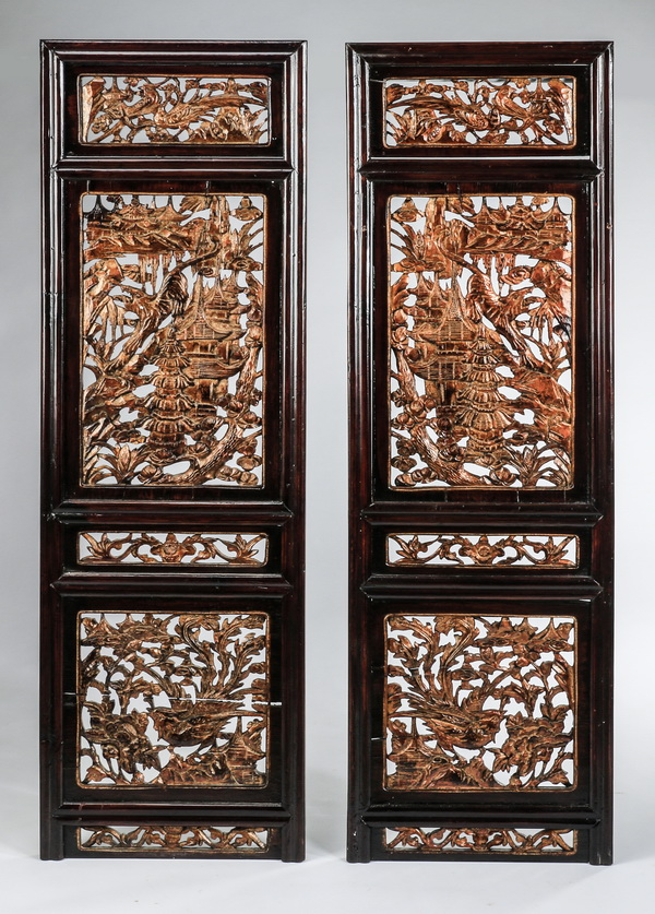 (2) Carved Asian architectural panels, 54