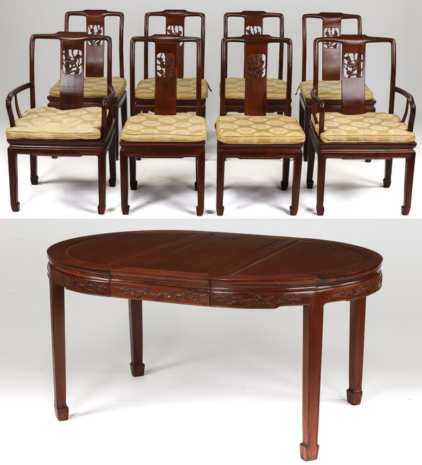 Chinese carved dining set with table and 8 chairs
