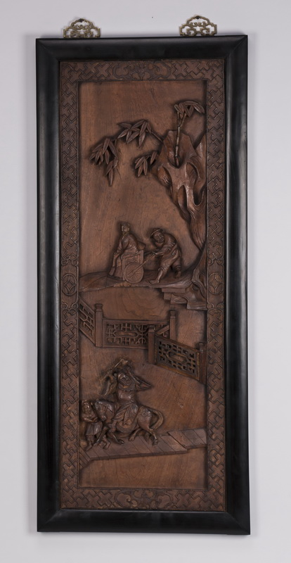 Chinese relief carved hanging panel, 42