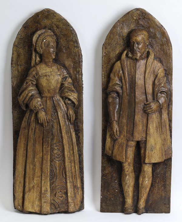 (2) 19th c. English cast plaster wall plaques, 34