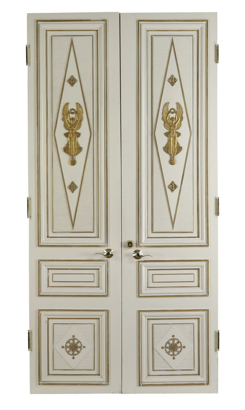 (2) Early 20th c. French gilt & painted doors