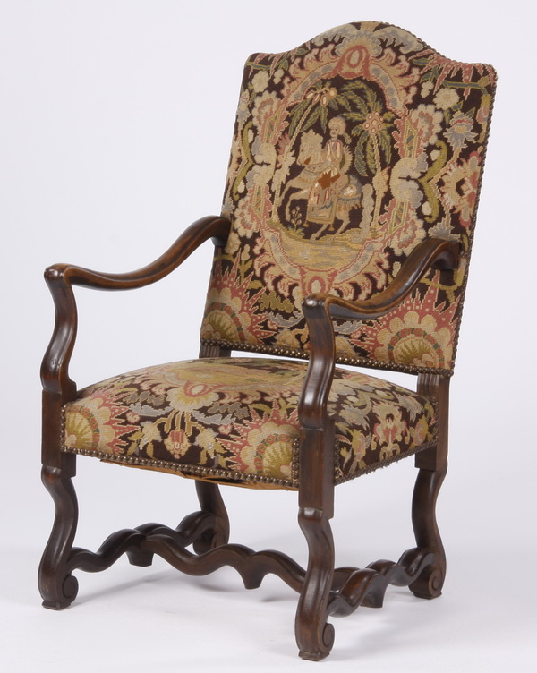 19th c. French carved walnut armchair in needlepoint