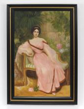 Continental O/board of elegant lady in garden, signed