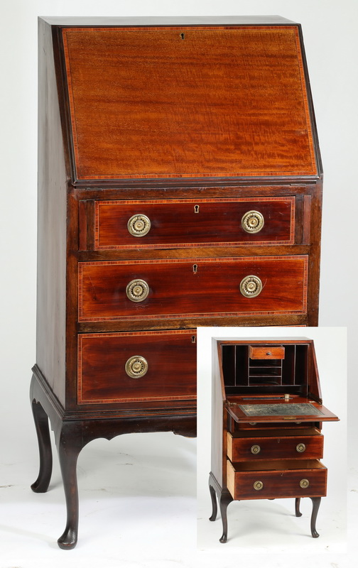 19th c. mahogany drop-front butler's secretary