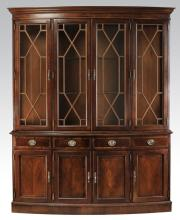 Federal style mahogany serpentine cabinet, w/ lights