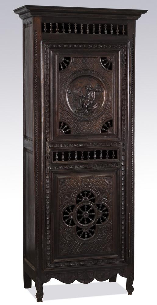 19th c. Breton carved oak cabinet, 75