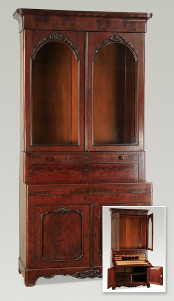 19th c. mahogany secretary bookcase, 96