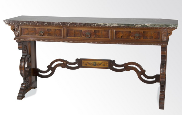 Continental marquetry inlaid marble top console, 78