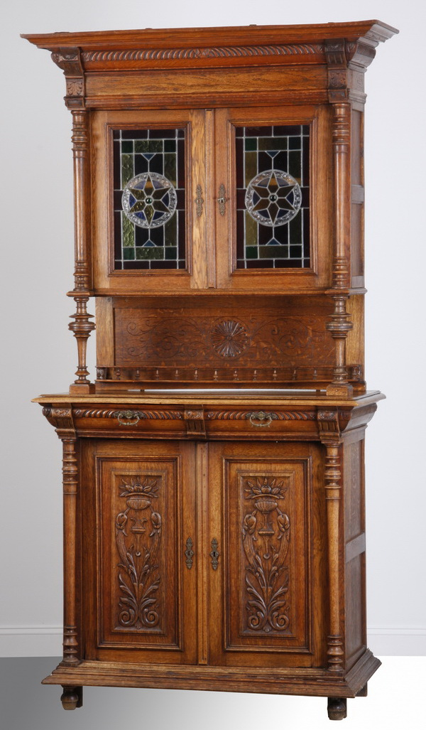 19th c. Continental oak buffet w/ stained glass