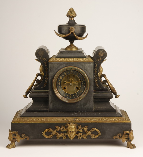19th c. French bronze and black marble clock