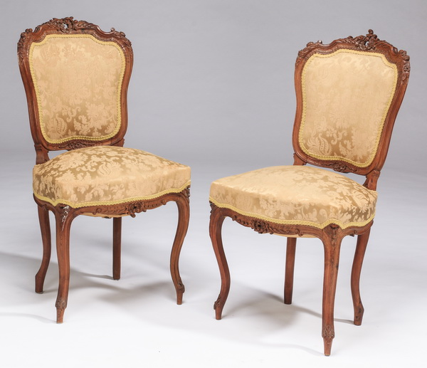 (2) French Louis XV style walnut chairs w/ damask