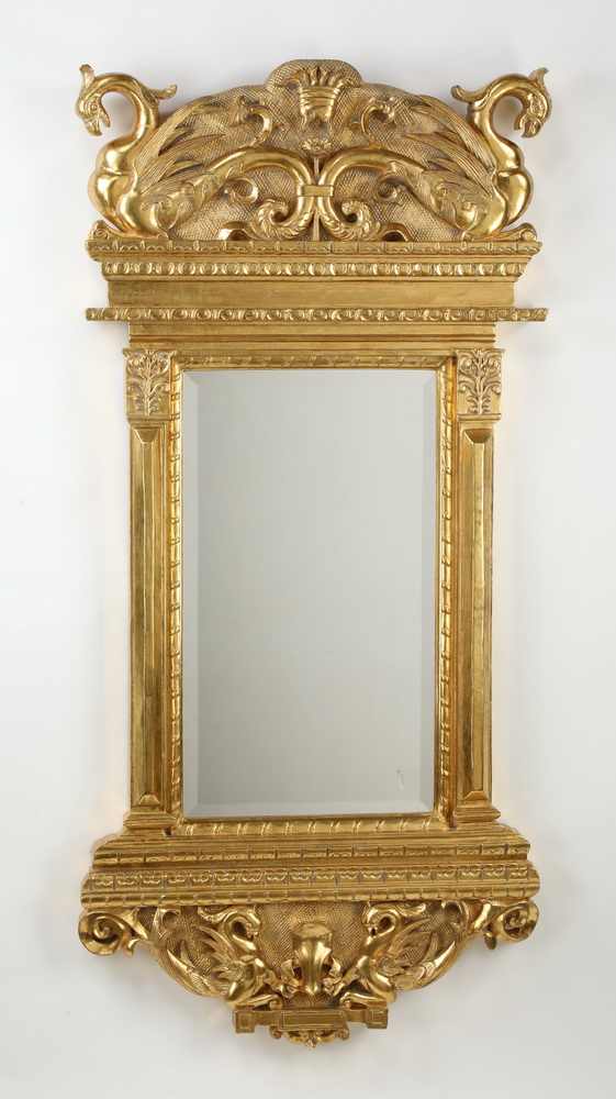 Baroque style carved & gilt mirror with gryphons 61