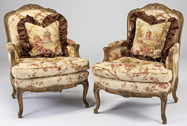 (2) French style bergeres w/ chinoiserie upholstery