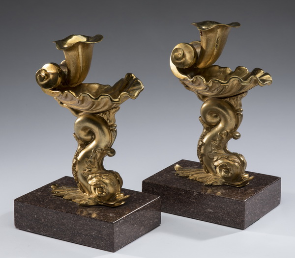 (2) French dore' bronze candlesticks, 19th c.