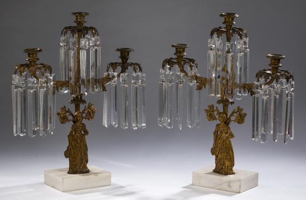 (2) Victorian gilt bronze & crystal girandoles, 18
