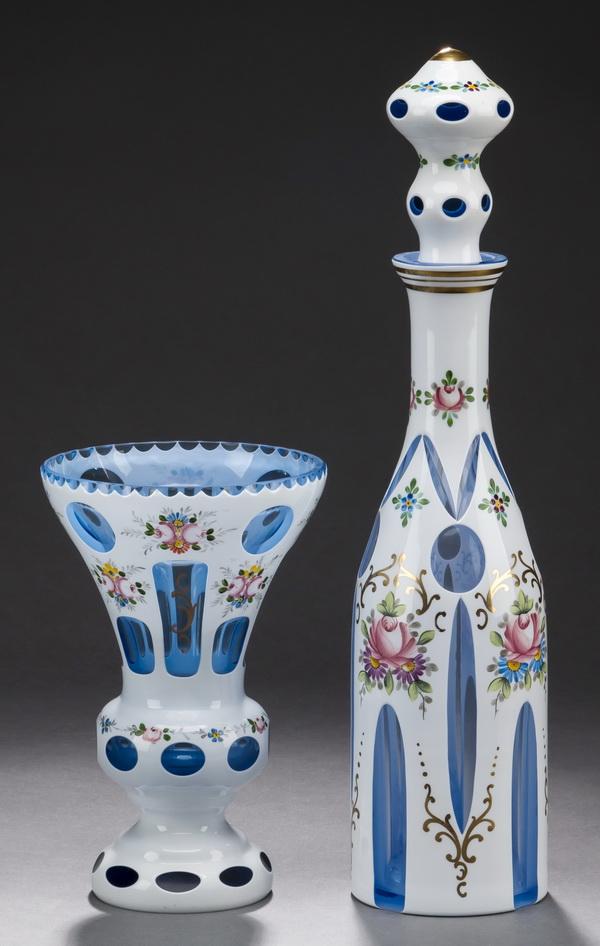 (2) Pcs Bohemian cased glass - decanter & vase