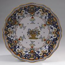 Early 20th c. French Rouen faience plate, marked