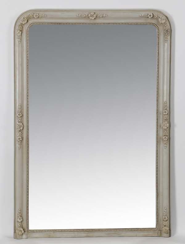 19th c. French carved, paint decorated mirror, 58