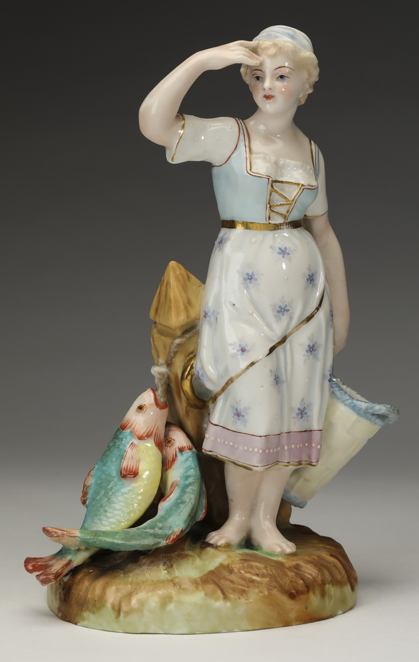 19th c Continental porcelain figure of French peasant