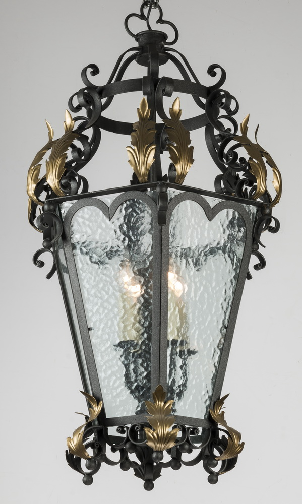 Continental Rococo style wrought iron lantern, 40