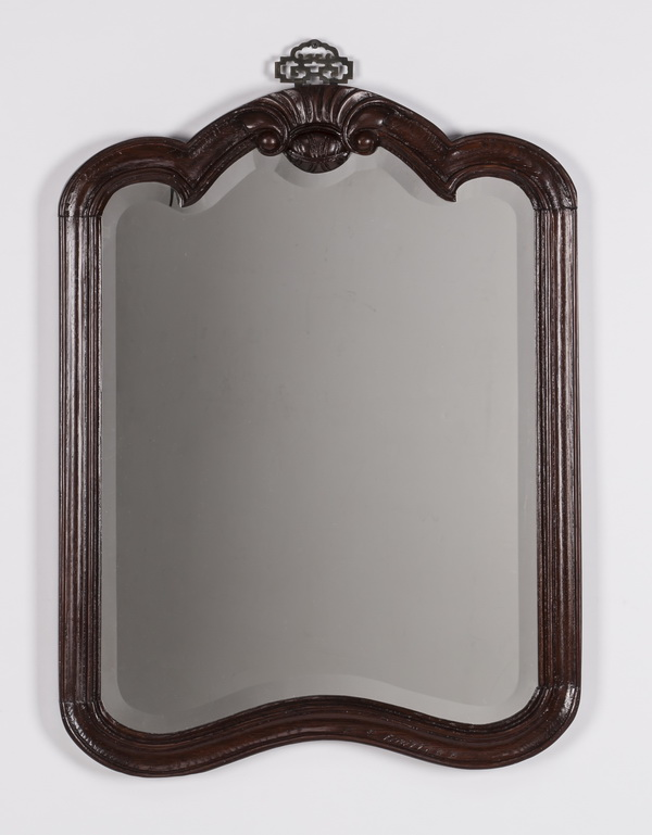 Carved mahogany mirror with Asian style bracket, 27