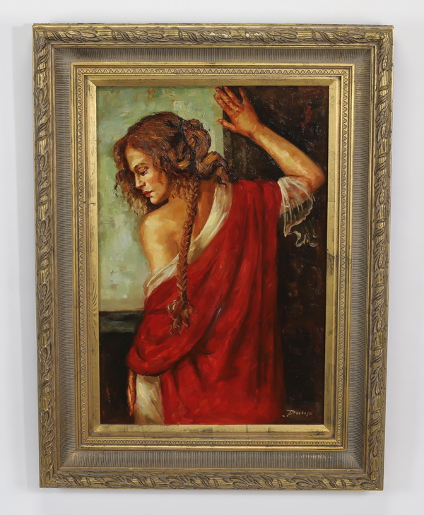 20th c. O/c of women in red robe at window, signed