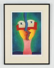 Jorge Lopez Garcia signed lithograph 'Tus Perfiles'