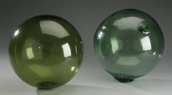 (2) Fisherman's green glass net markers