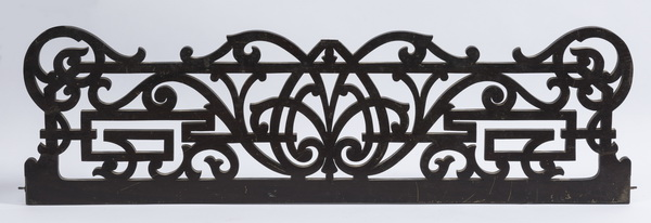 19th c. ebonized & pierce carved architectural panel