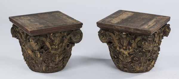 (2) 19th c. carved Corinthian capitals, 13