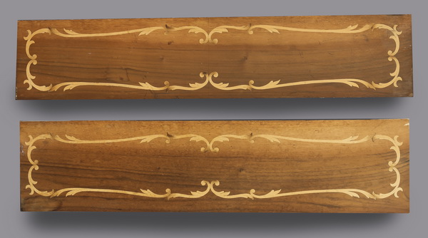 (2) Rococo style Italian marquetry inlaid panels