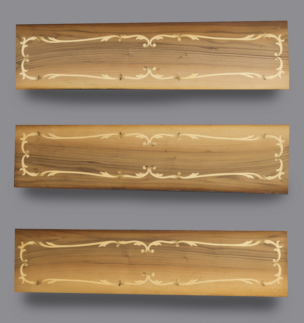 (3) Rococo style Italian marquetry inlaid panels
