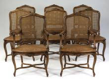 (8) French Provincial style cane-backed dining chairs