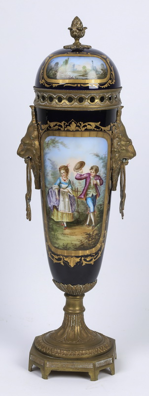 Continental hand painted porcelain & bronze urn