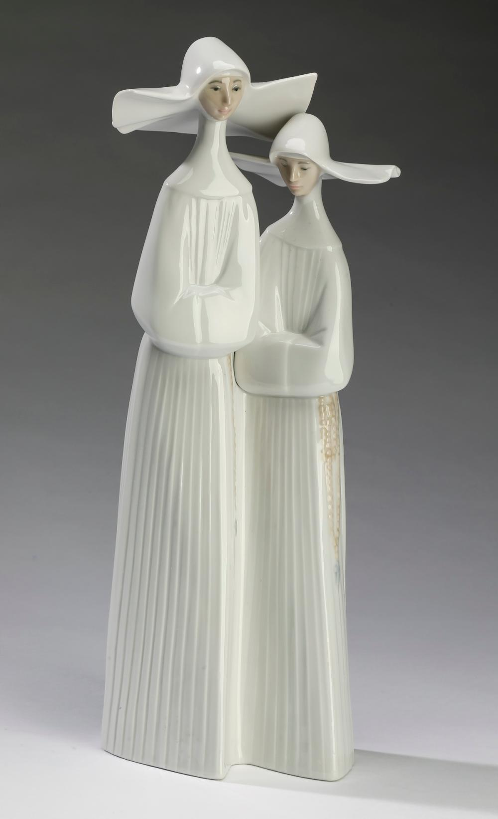 "Retired Lladro 'Nuns' porcelain figures, 14""h"