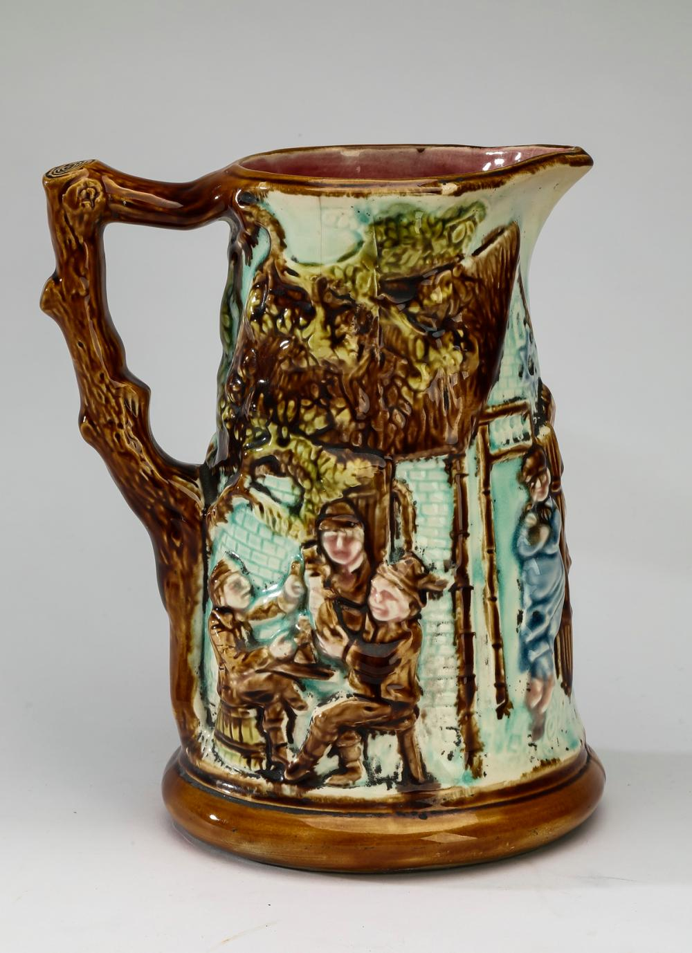 "Late 19th c. Belgian majolica 'Tavern' pitcher, 9""h"
