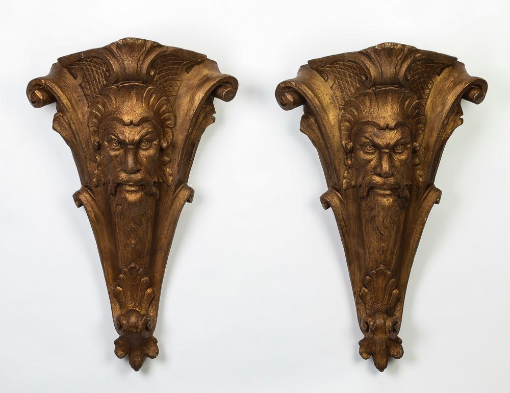 (2) Gilt-decorated Green Man architectural accents