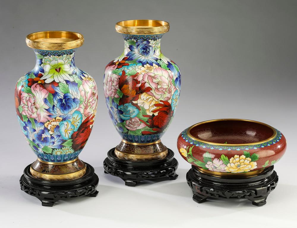 (3) Chinese cloissone decorative vases and bowl