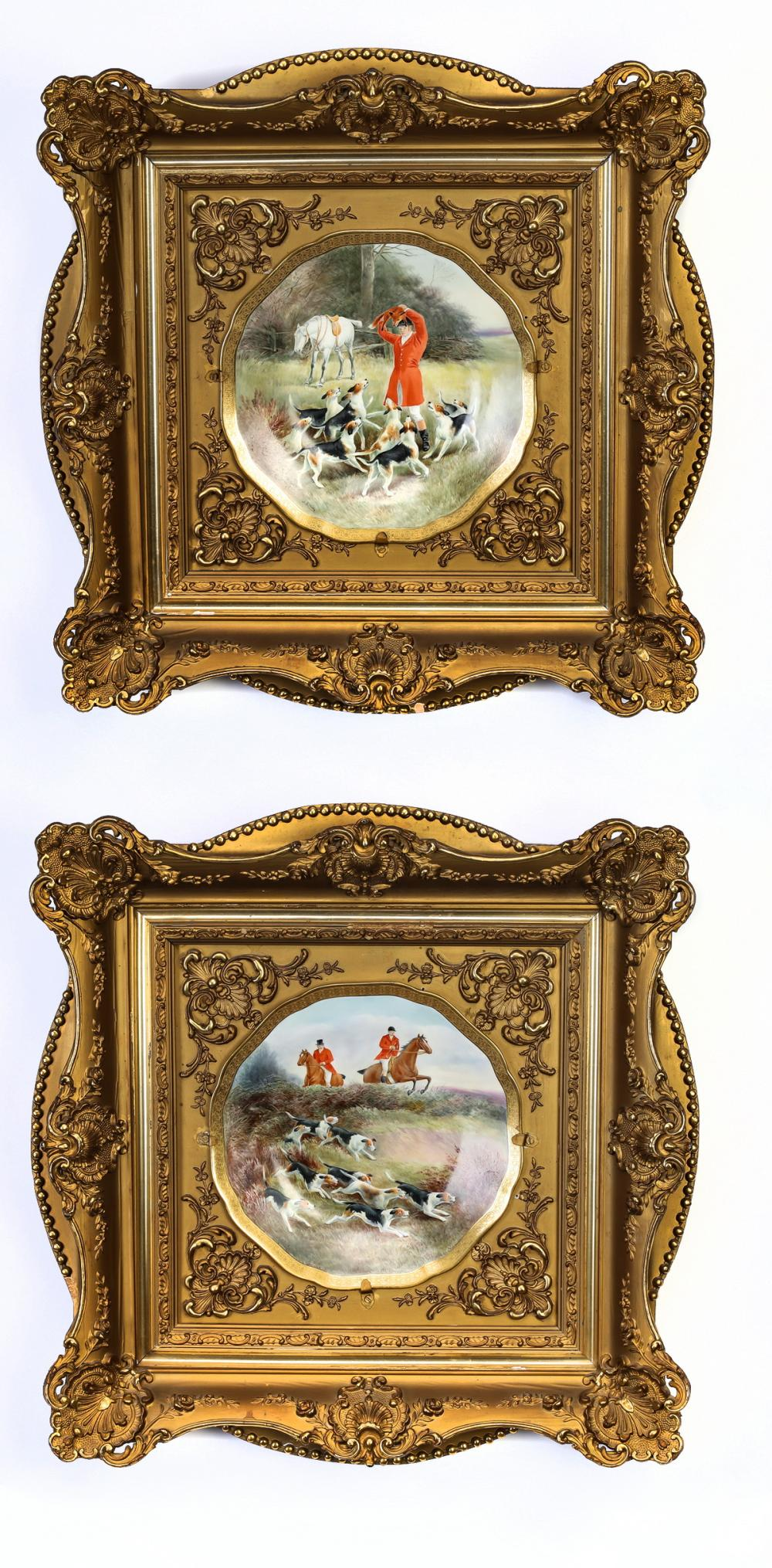 Early 20th c. hunt scene cabinet plates by Cauldon
