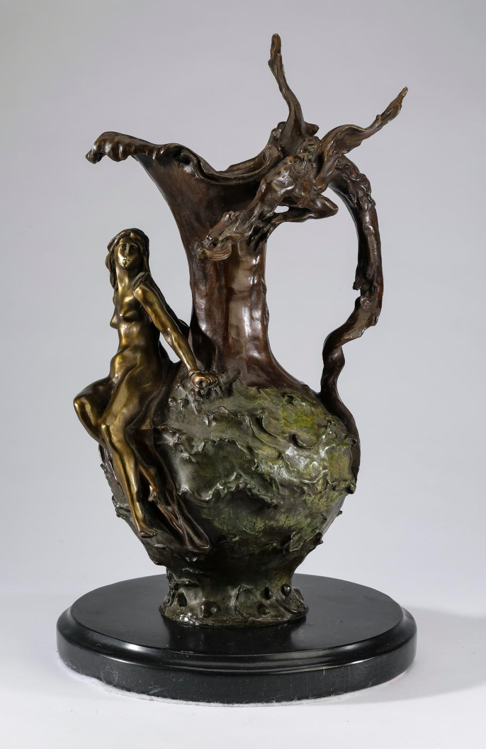 Bronze ewer with seated nymph and dragon handle