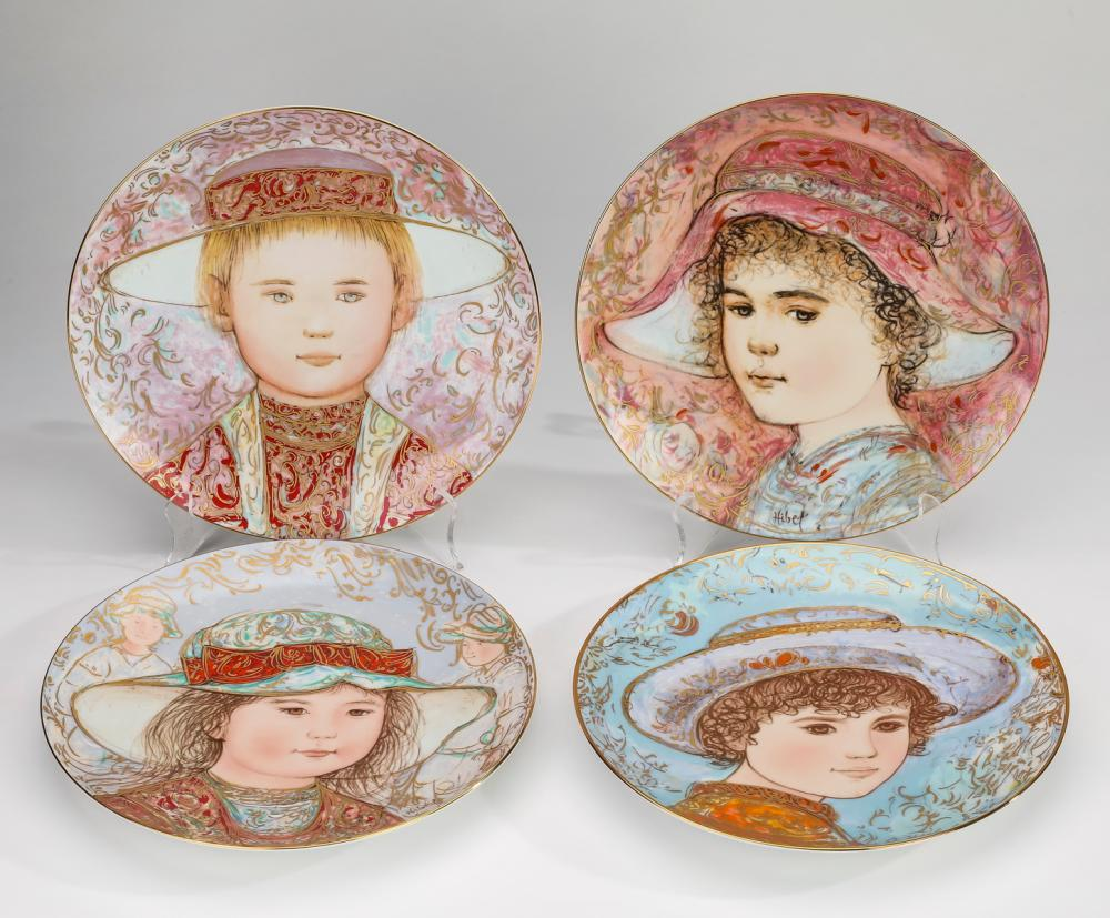 (4) Edna Hibel for Rosenthal  hand painted plates
