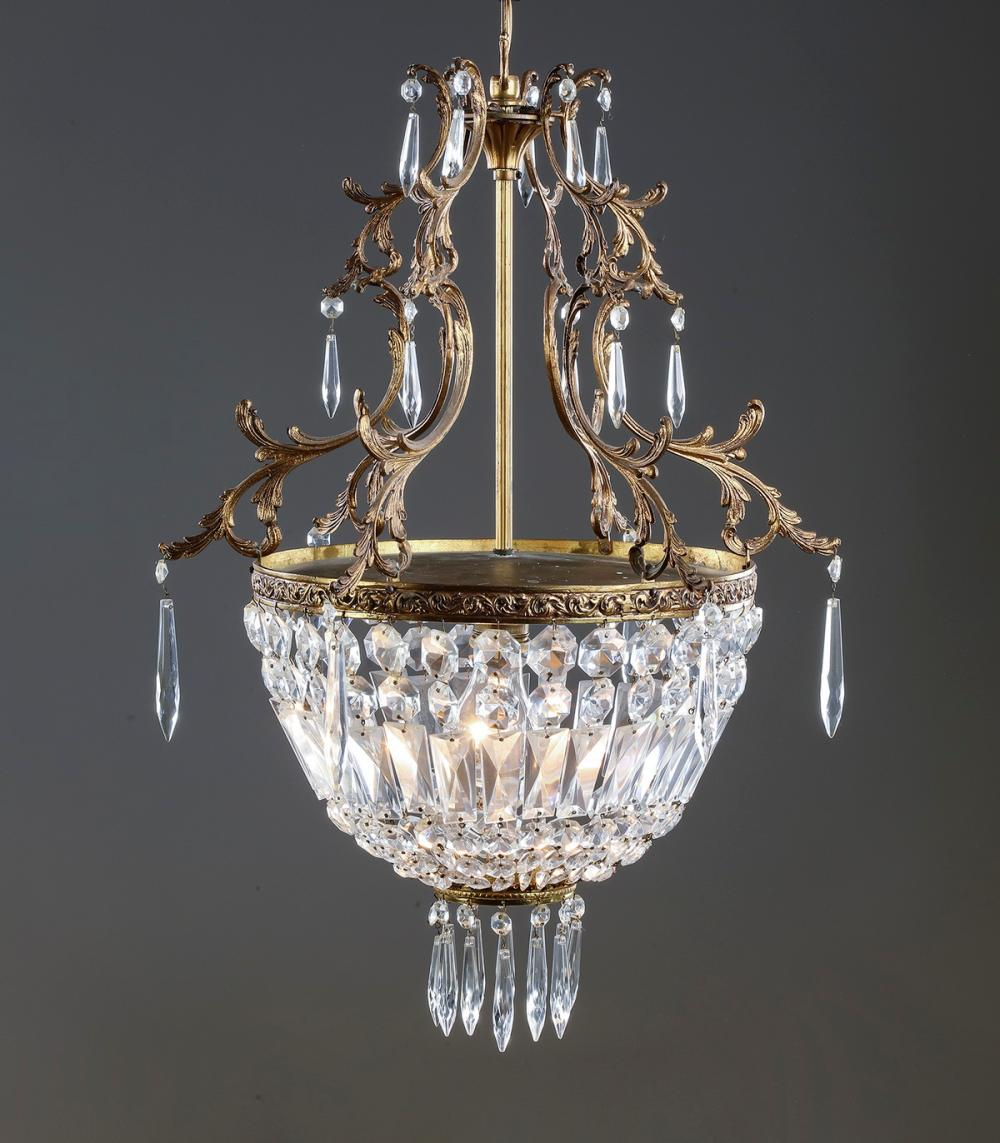 "Petite Continental crystal chandelier, 24""h"