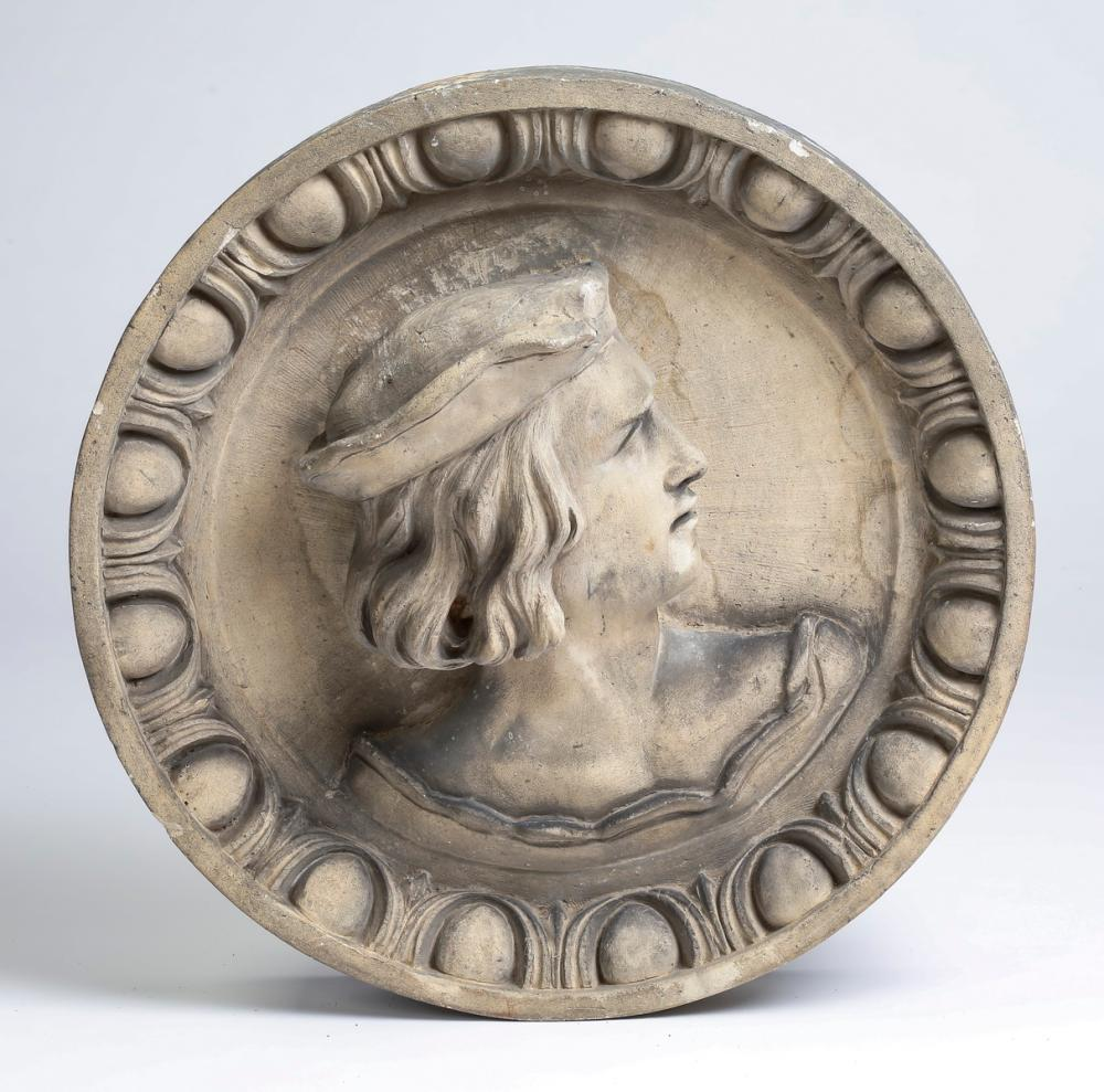 "Renaissance style roundel with profile bust, 18.5""d"