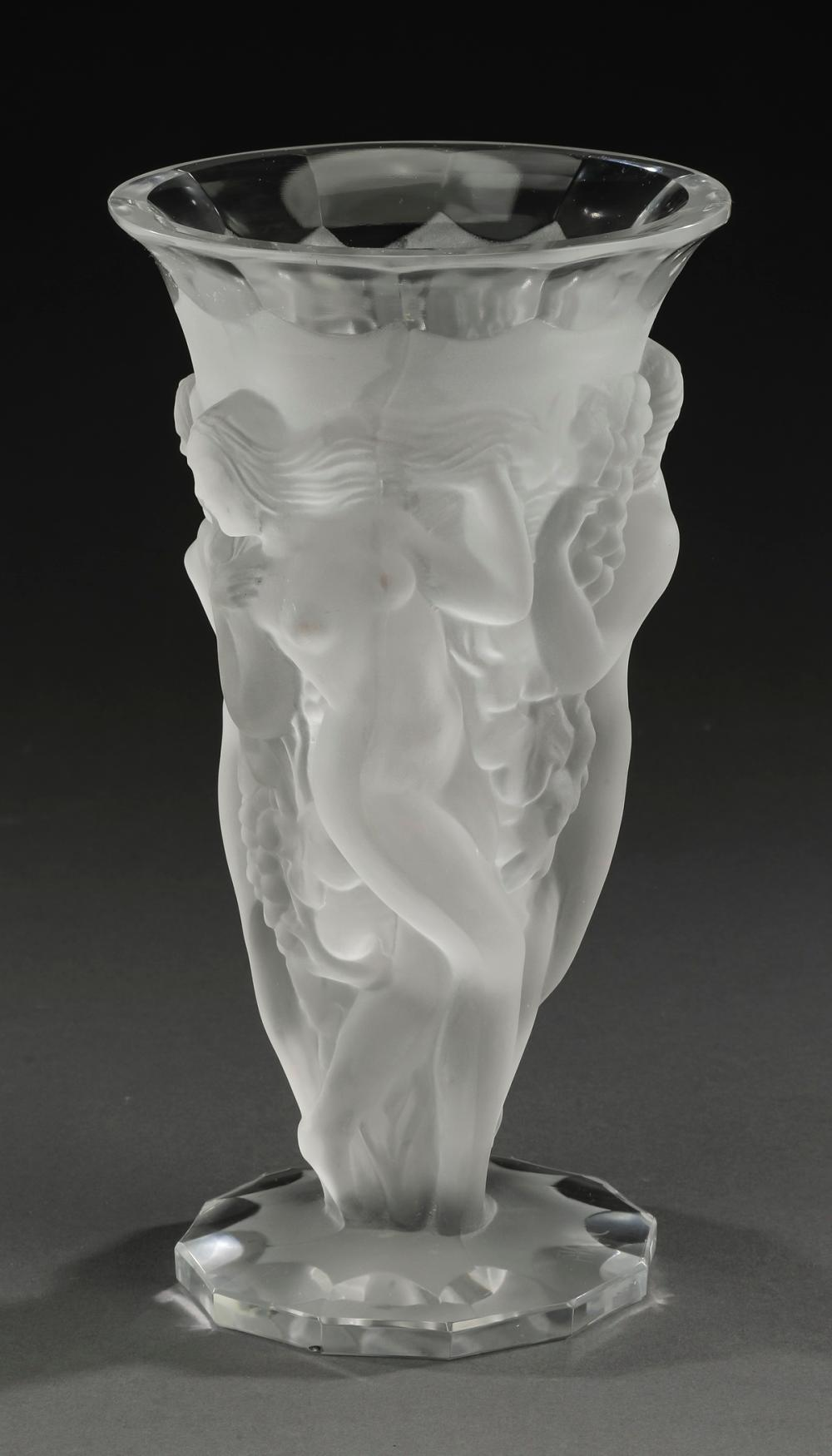 Dancing nymphs vase in frosted crystal, signed
