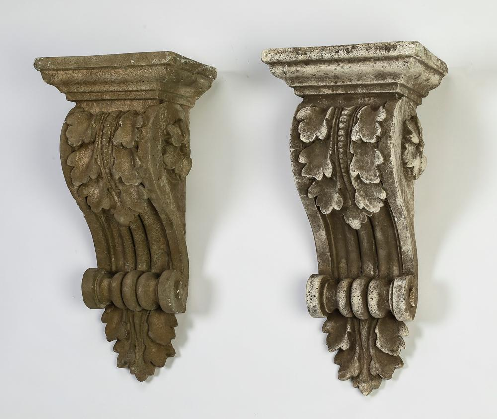 "Pair of similar cast stone Classical corbels, 22""h"