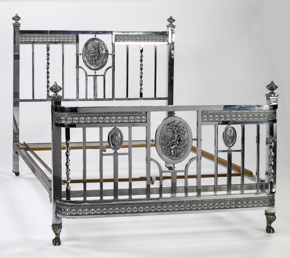 Belle Epoque silvered brass bed with chased plaques
